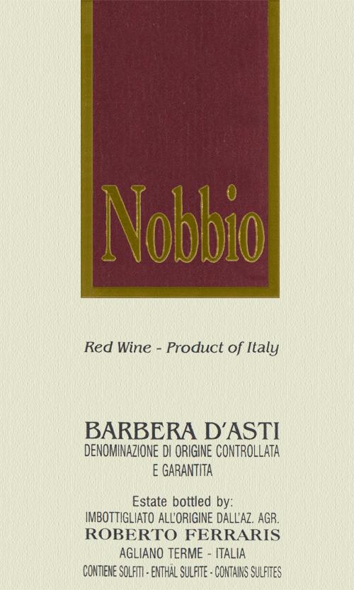 Barbera d'Asti Nobbio Roberto Ferraris 2018